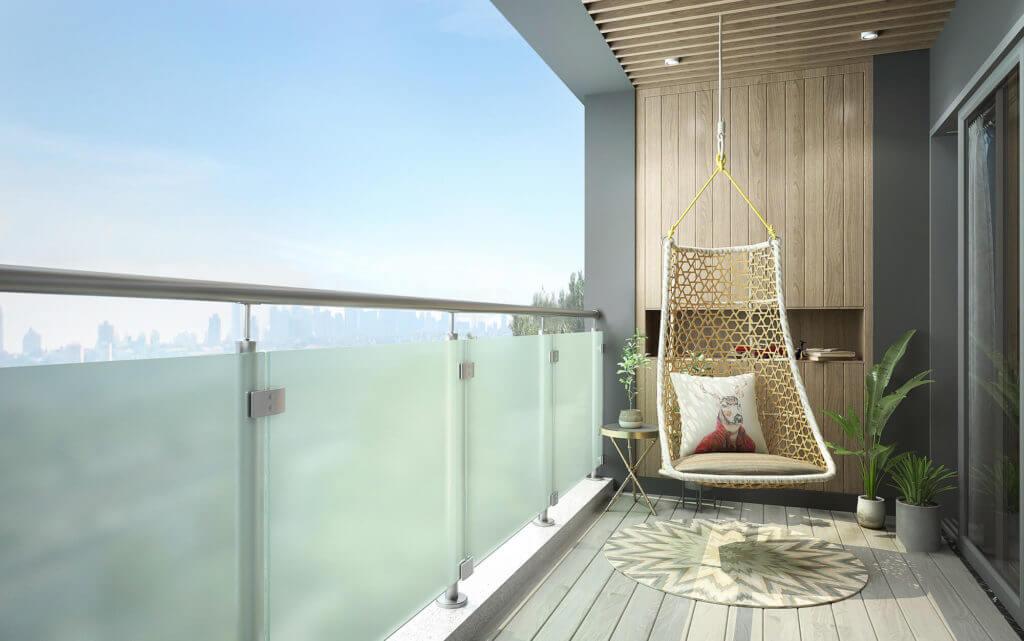 Mit dem neuen Sichtschutz-Geländer werden Sichtschlitze zwischen den Glaselementen vermieden.