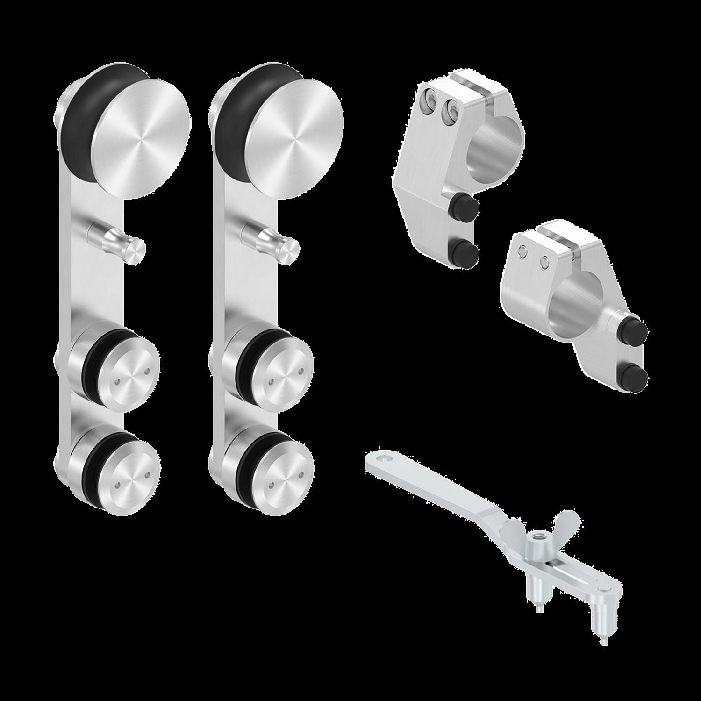 Glasschiebetürsystem mit einer Rolle - Set 1