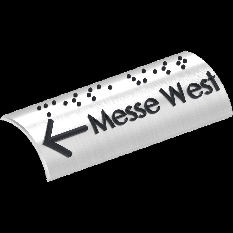 Taktiles Handlaufschild Messe West, taktil