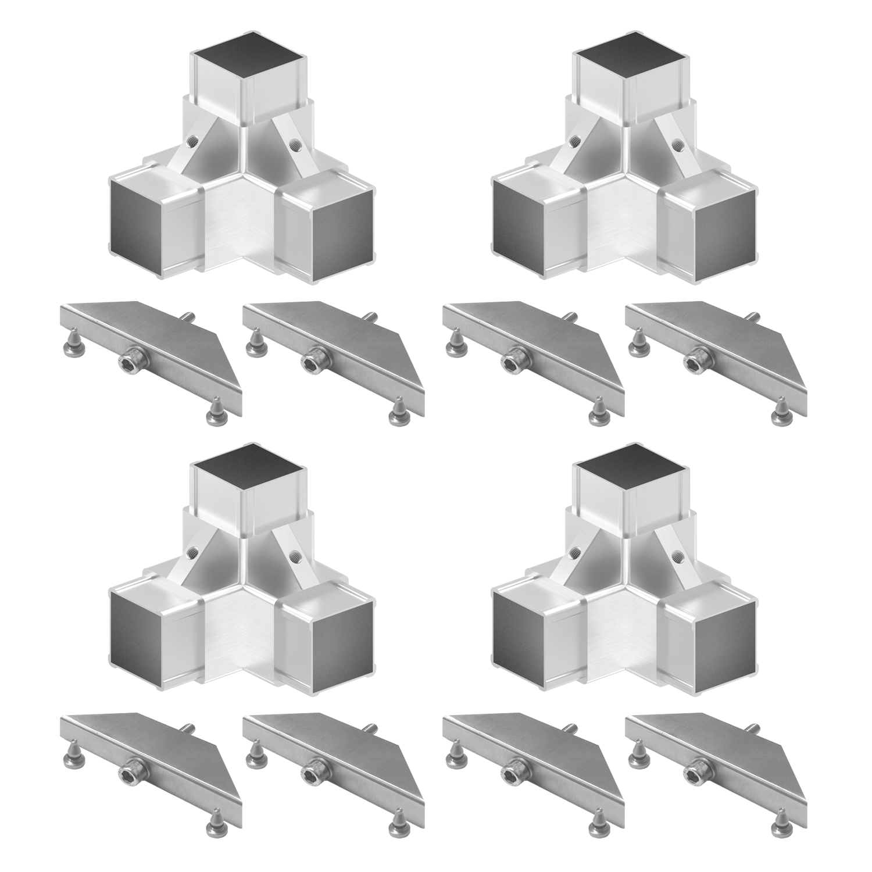 Set 4 - 4x Cornect Ecke 90° mit Abgang